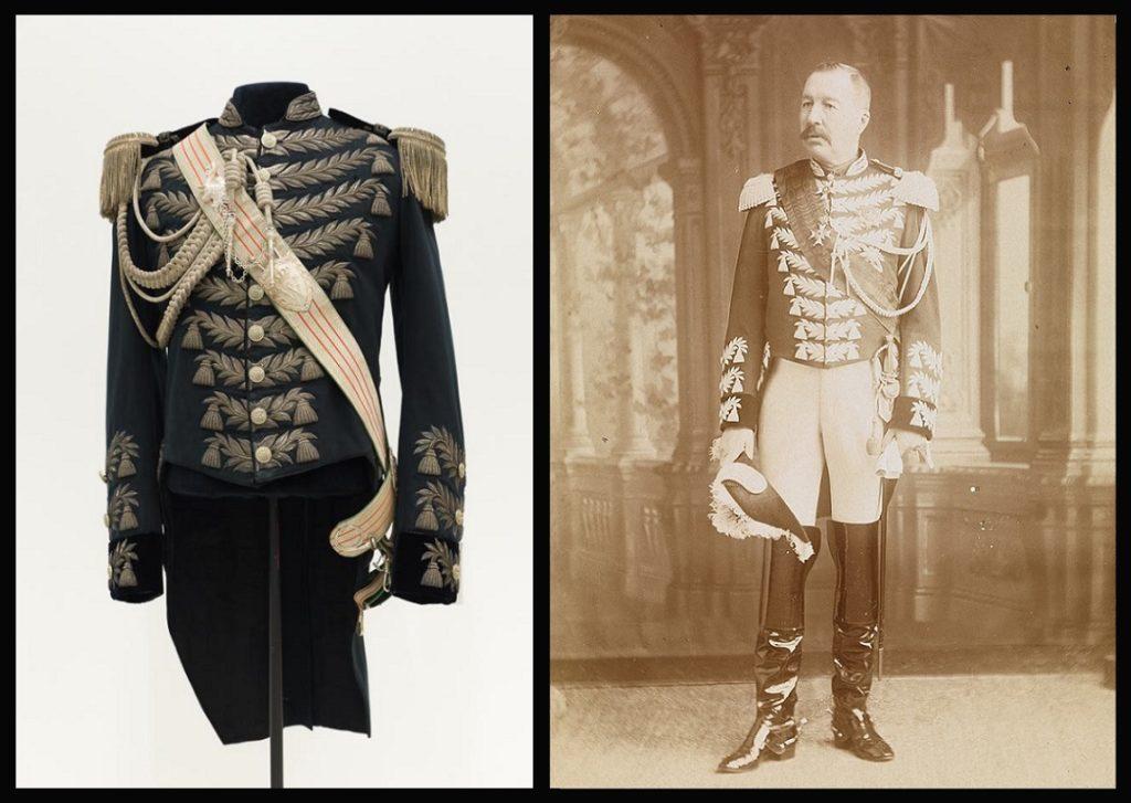 Afb. Links de jas in de collectie van Paleis Het Loo op een foto met dank aan Niels Coppes en rechts baron Van Pallandt in vol ornaat op een foto in de collectie van Slot Zuylen.