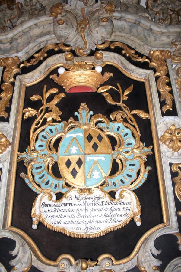 Afb. Eén van de rouwborden in de kerk van Hegeveintum. Foto met hartelijke dank aan Alde Fryske Tsjerken.